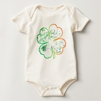 White, Orange and Green Grungy Four-Leaf Clover Baby Bodysuit