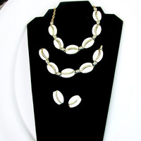 Thermoset Jewelry Set Parure White Lucite Stones On Silver Tone Link Necklace Bracelet Earrings Purure Set Item 1840