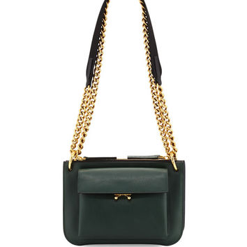 Marni Bandoleer Leather Shoulder Bag, Green/Blue