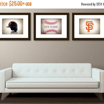 Weekend Sale Personalized set of 3 San Francisco Giants photo print,San Francisco Giants,boys room decor,Giants,baseball decor,baseball wall