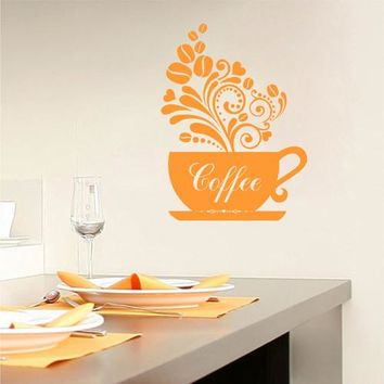 ik2348 Wall Decal Sticker monogram coffee cup cafe coffee shop restaurant kitchen