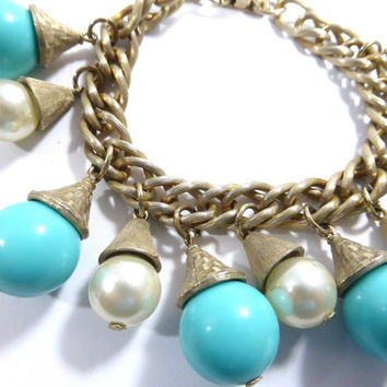 Vintage Faux Turquoise and Pearl Gold Chain Charm Bracelet. - Boho Bracelet, Chunky Wrist Candy