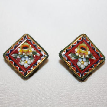 Micro Mosaic Earrings Red Italy Vintage 1940s Jewelry