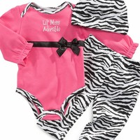 First Impressions Baby Set, Baby Girls 3-Piece Lil Miss Adorable Hat, Bodysuit and Pants Set
