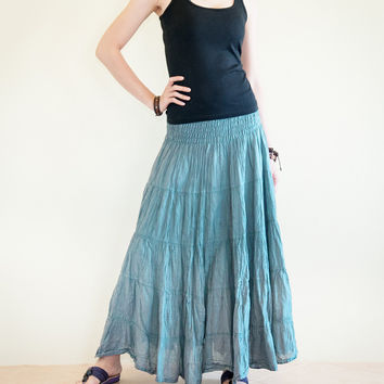 Broomstick Tiered Long Skirt Smock Waist Crinkle Cotton Gypsy Hippie Style (Teal Blue)