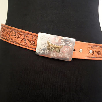70s Accessories Leather Belt Cowboy Belt Hand Tooled Leather Belt Bohemian Belt Boho Belt Vintage Belt 70s Belt Southwestern Belt