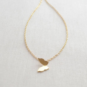 ON SALE Butterfly Necklace - gold necklace with butterfly charm - 1298