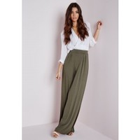 Missguided - Jersey Wide Leg Pants Khaki