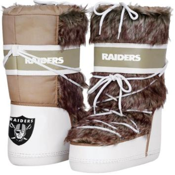 Cuce Shoes Oakland Raiders Ladies The Aficionado Boots - Tan/White