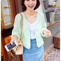 Solid  Knitted Batwing Sleeve Button Cardigan Sweater