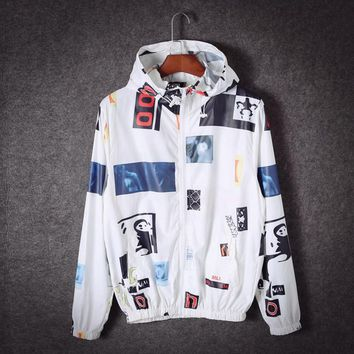 Spring and autumn students couple hooded coat ultra - thin models of raincoats sunscreen shirt jacket skin clothes Class service men and women White