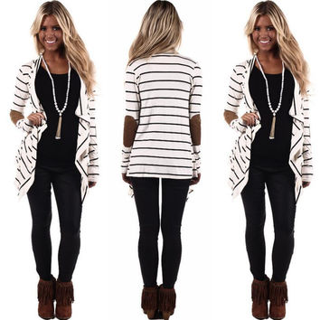 White Striped Elbow Patched Long Sleeve T-Shirt