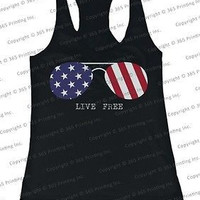 July 4th Red White and Blue Live Free American Flag Sunglasses Women's Tank Tops