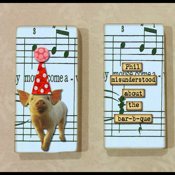 Cute Pig Funny Saying Mini Magnet Set 2x1 Inches on Ceramic Tiles with Rare Earth Magnets for Refrigerator, Fridge, Cubicle or Dorm Decor