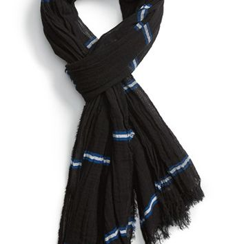 Men's rag & bone 'Cabot' Stripe Cotton Scarf, Size 1 - Black