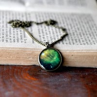 Galaxy Necklace, Univers Jewelry, Nebula Necklace, Resin Jewelry, Green Necklace