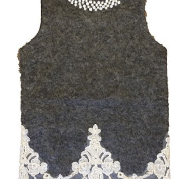 Gray Sleeveless Dress With Lace Trim