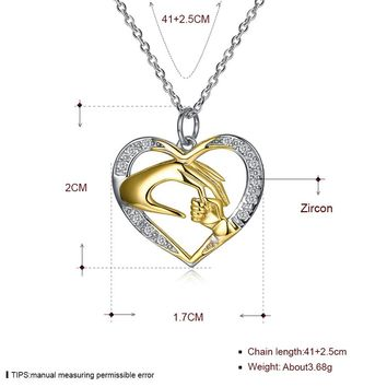 925 Sterling Silver Necklace Women Fashion Trendy Heart-shaped Romance