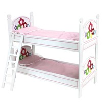 18 Inch Doll Bunk Bed, Doll Bedding, & Ladder Doll Furniture for American Girl Doll Bed Rooms & More! White with Hand Painted Flowers