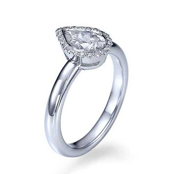 White Gold Halo Pear Shaped Engagement Ring - 1ct Diamond