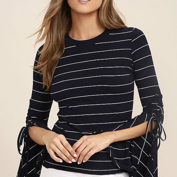 Found My Mate Navy Blue Striped Lace-Up Top