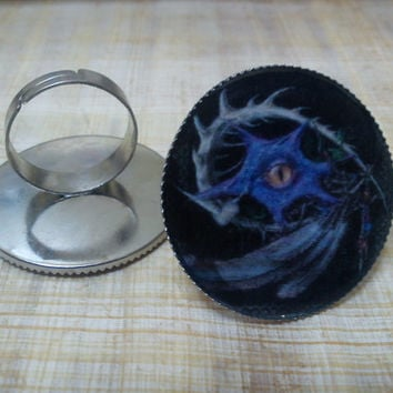 Dragon eye with feathers Ring.Gothic