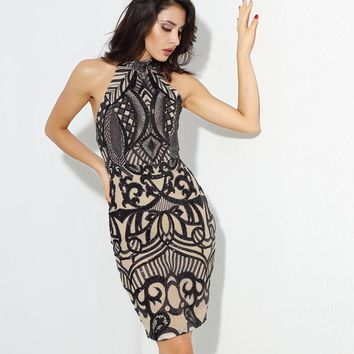 Sexy Black Open Back Geometric Graphic Sequins Bodycon Dress