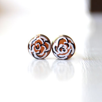 Hand Painted Ear Gauges, Rose Plugs, Art Gauges 9/16, Art Plugs, Double Sided, Reversible Plug - size 9/16""