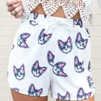 Lil Louie Shorts - white cat print shorts