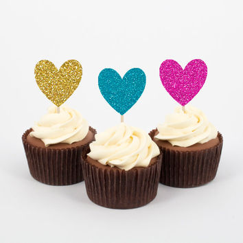 "2"" Heart Cupcake Toppers - 3 Glitter Colors - Glitter Heart Cupcake Toppers - Gold, Teal, Hot Pink - Cake Picks - Big, Sparkly, and Cute!"