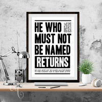 "Wall art decor, Harry Potter typography poster ""He Who Must Not Be Named Returns"", inspired by Daily Prophet Cover"