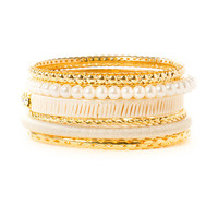 Gold and Ivory Thread Wrapped Bangle Bracelets Set of 6