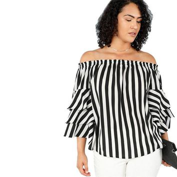 Black And White Stripe Butterfly Sleeve Blouse