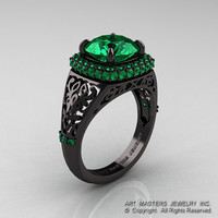 High Fashion 14K Black Gold 3.0 Ct Emerald Designer Wedding Ring R407-14KBGEM