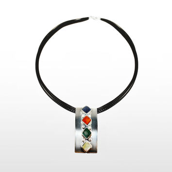 Contemporary Sterling Silver Pendant with Four Stones