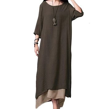 2018 Women Linen Vintage Dress Split Irregular Hem Casual Loose Boho Long Maxi Dresses Plus Size 2XL 3XL 4XL Large Sizes Dresses