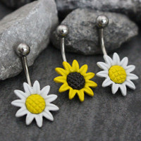 Belly Button Ring Stud, Navel Stud, Belly Button Jewelry, Navel Piercing, Sunflower Daisy Flower, Belly Button Piercing, Navel Jewelry