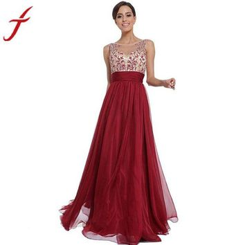 ac NOOW2 Red Sexy Printing Women High Waist Charming Maxi Ball Gown Formal O-Neck Casual A-line Party Bodycon Dress
