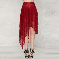 Embroidered Red Lace Steampunk Skirt