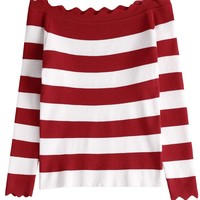 Red Stripe Off Shoulder Asymmetric Trim Knit Sweater