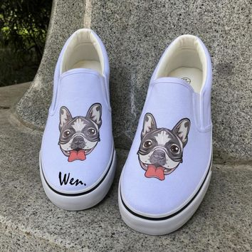 Wen Original Design Dog Canvas Shoes Slip on Platform Flat Low Pet French Bulldog Men Women Sneakers Christmas Gifts Plimsolls