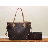 LV Fashion Color Full-print Single Shoulder Pack Two-piece Ladies'Suit Coffee