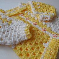 Baby Sweater - 3 to 6 Months - Yellow and White - Crochet - Ready to Ship