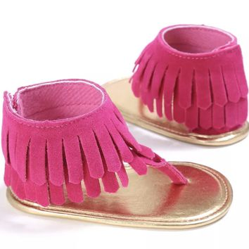 Summer Fringe Moccasin Sandals