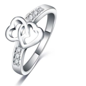 Eternity Love Double Heart Promise Rings For Women (6,7,8)