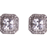 Cubic Zirconia Earrings Framed Square Stud Earrings