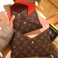 LV Louis Vuitton Fashion Monogram Leather Handbag Envelope Bag Tote Three-Piece