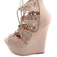 Laser Cut-Out Lace-Up Platform Wedges