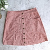 high standards suede skirt - mauve/dusty pink