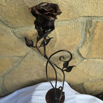 Metal rose, iron rose, forged rose, wrought iron rose, steel rose, hand forged rose, hand made rose, rose sculpture, iron rose gift,her rose
